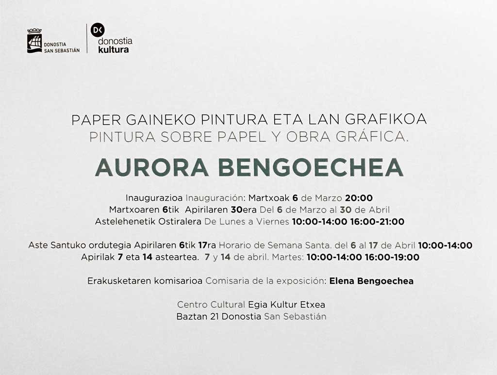 Aurora Bengoechea. Pintura sobre papel y obra gráfica